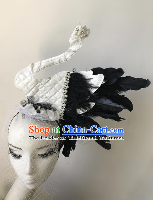 Top Grade Catwalks Hair Accessories Baroque Exaggerated Feather White Swan Hair Clasp Modern Fancywork Headwear