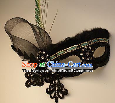 Halloween Exaggerated Black Lace Face Mask Venice Fancy Ball Props Catwalks Accessories Christmas Mysterious Masks