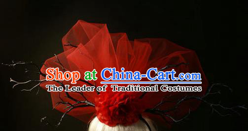 Top Grade Christmas Catwalks Hair Accessories Halloween Stage Performance Red Veil Hair Clasp Modern Fancywork Headwear