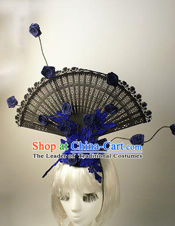 Top Grade Catwalks Chinese Traditional Hair Accessories Halloween Modern Fancywork Blue Lace Flowers Headwear