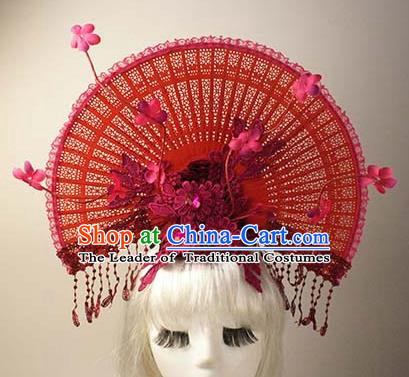 Top Grade Catwalks Chinese Traditional Hair Accessories Halloween Modern Fancywork Red Lace Flowers Headwear