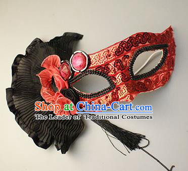 Halloween Exaggerated Red Sequin Face Mask Venice Fancy Ball Props Catwalks Accessories Christmas Masks