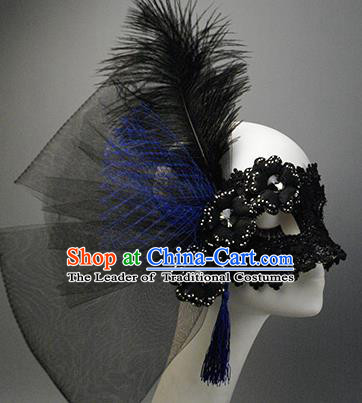 Halloween Exaggerated Face Mask Venice Fancy Ball Props Catwalks Accessories Christmas Black Feather Masks