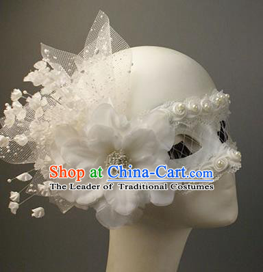 Halloween Exaggerated White Lace Flower Face Mask Venice Fancy Ball Props Catwalks Accessories Christmas Masks