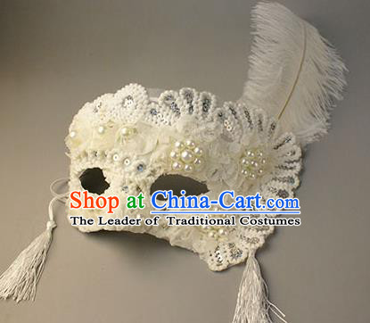 Halloween Exaggerated White Pearls Face Mask Venice Fancy Ball Props Catwalks Accessories Christmas Masks
