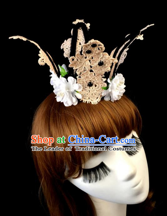 Top Grade Catwalks Hair Accessories Exaggerated Pink Lace Royal Crown Halloween Modern Fancywork Headwear