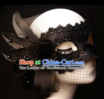 Halloween Exaggerated Black Feather Face Mask Venice Fancy Ball Props Catwalks Accessories Christmas Masks