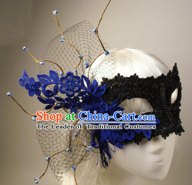 Halloween Exaggerated Blue Lace Face Mask Venice Fancy Ball Props Catwalks Accessories Christmas Masks