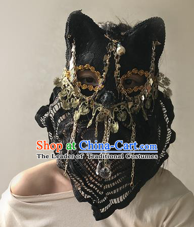 Halloween Venice Exaggerated Black Lace Face Mask Fancy Ball Props Catwalks Accessories Christmas Masks