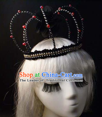 Top Grade Catwalks Hair Accessories Exaggerated Queen Royal Crown Halloween Modern Fancywork Headwear