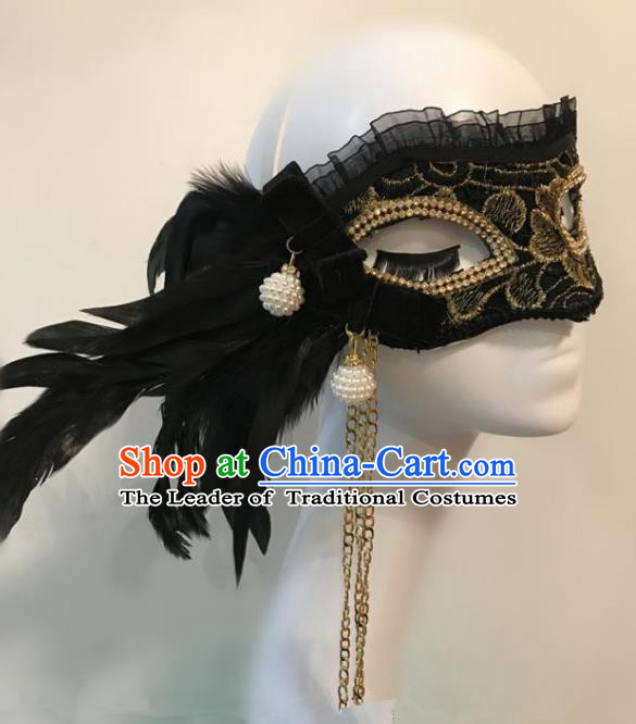 Halloween Catwalks Venice Black Feather Tassel Face Mask Fancy Ball Props Accessories Christmas Exaggerated Masks