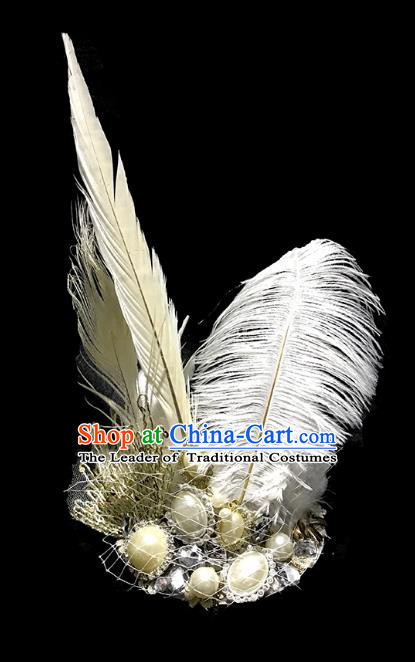 Top Grade Catwalks Hair Accessories Exaggerated White Feather Headdress Halloween Modern Fancywork Headwear