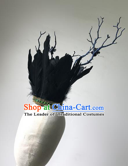 Top Grade Catwalks Gothic Hair Accessories Exaggerated Black Feather Headdress Halloween Modern Fancywork Headwear