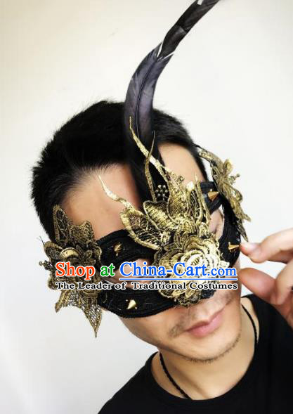Halloween Catwalks Venice Golden Lace Face Mask Fancy Ball Props Accessories Christmas Exaggerated Masks