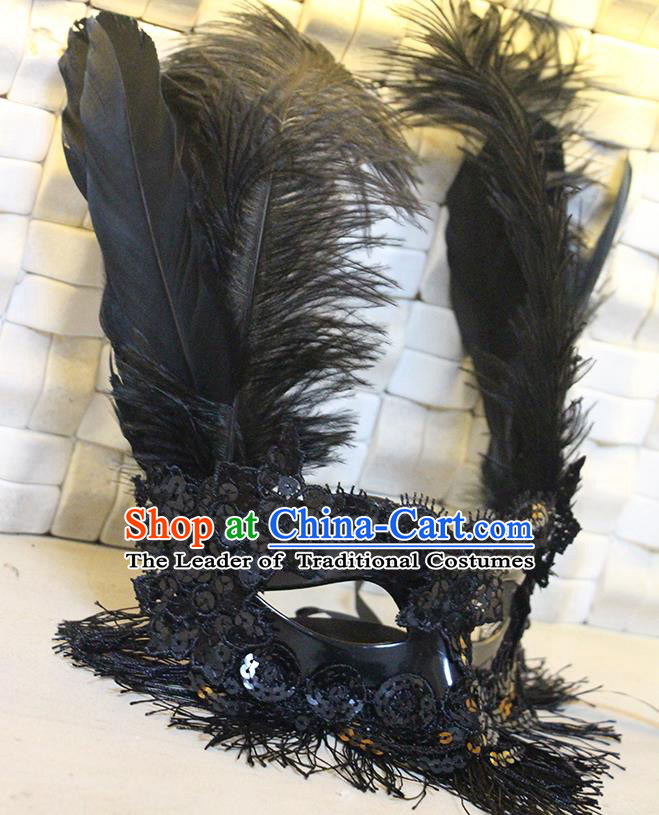 Halloween Catwalks Venice Feather Face Mask Fancy Ball Props Accessories Christmas Exaggerated Black Feather Masks