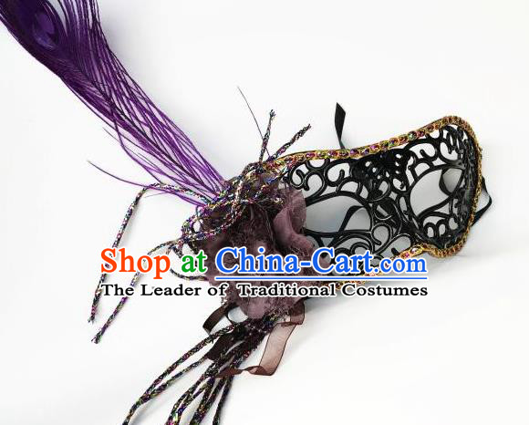 Halloween Catwalks Venice Face Mask Fancy Ball Props Accessories Christmas Exaggerated Purple Feather Masks