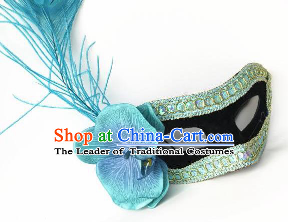 Halloween Catwalks Venice Face Mask Fancy Ball Props Accessories Christmas Exaggerated Blue Feather Masks