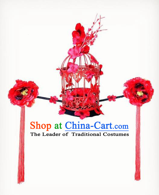 Top Grade Catwalks Hair Accessories Exaggerated Chinese Red Peony Birdcage Hair Clasp Modern Fancywork Headwear
