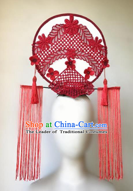 Top Grade Catwalks Hair Accessories Exaggerated Chinese Red Flowers Hair Clasp Modern Fancywork Headwear