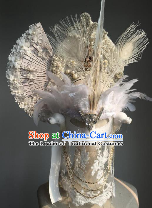 Top Grade Catwalks Hair Accessories Exaggerated Baroque Bride Feather Hair Clasp Modern Fancywork Headwear