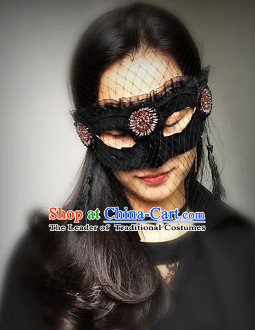 Halloween Catwalks Handmade Black Face Mask Fancy Ball Masks Christmas Exaggerated Feather Masks