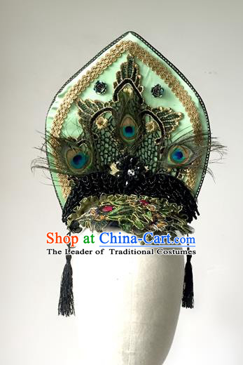 Top Grade Catwalks Hair Accessories Exaggerated Green Hair Clasp Modern Fancywork Headwear