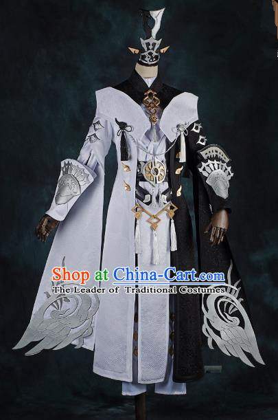 China Ancient Cosplay Swordsman General Costumes Complete Set Chinese Traditional Knight-errant Clothing for Men