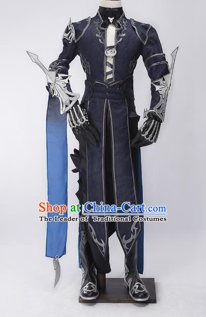 China Ancient Cosplay Swordsman Warriors Purple Costumes Complete Set Chinese Traditional Knight-errant Clothing for Men