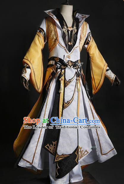 China Ancient Cosplay Chivalrous Expert Swordsman Costumes Complete Set Chinese Traditional Knight-errant Clothing for Men