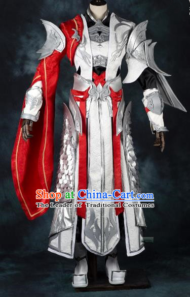 China Ancient Cosplay Chivalrous Expert Swordsman Costumes White Armour Chinese Traditional Knight-errant Clothing for Men