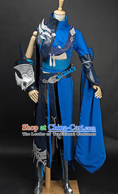 China Ancient Cosplay Childe Swordsman Blue Costumes Chinese Traditional Knight-errant Clothing for Men