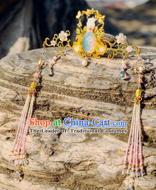 China Ancient Hair Accessories Hanfu Phoenix Coronet Step Shake Chinese Classical Tassel Hairpins for Women