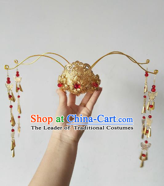 China Ancient Hair Accessories Hanfu Princess Bells Tassel Phoenix Coronet Chinese Classical Hairpins for Women