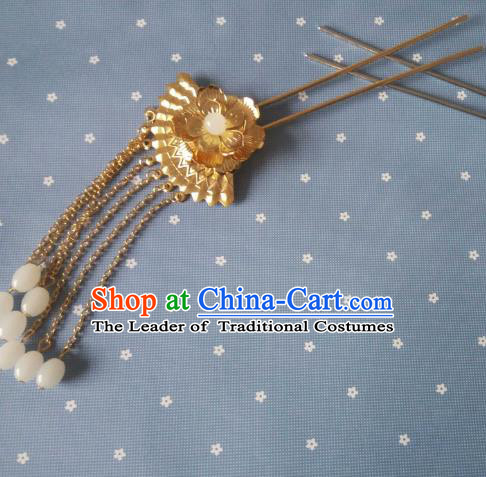 China Ancient Hair Accessories Hanfu Princess Golden Tassel Hair Clips Chinese Classical Hairpins for Women