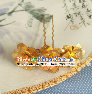 China Ancient Hair Accessories Hanfu Princess Golden Flowers Hair Stick Chinese Classical Hairpins for Women
