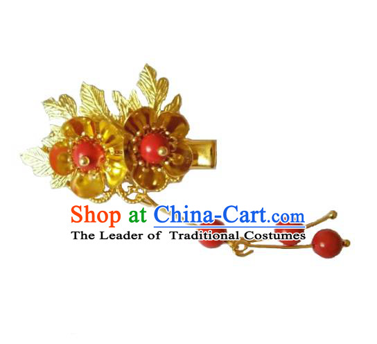 China Ancient Hair Accessories Hanfu Golden Hair Stick Chinese Classical Tassel Hairpins for Women
