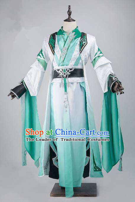China Traditional Cosplay Swordsman Childe Green Costumes Chinese Ancient Kawaler Knight-errant Clothing for Men