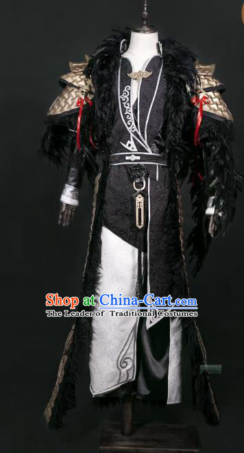 China Traditional Cosplay Prince Swordsman Black Costumes Chinese Ancient Kawaler Knight-errant Clothing for Men