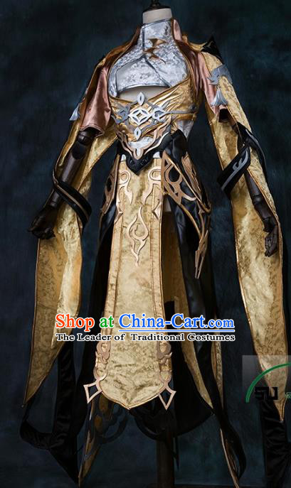 China Ancient Cosplay Female General Knight-errant Golden Costumes Chinese Traditional Swordsman Clothing for Women