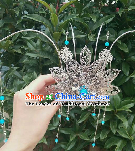 China Ancient Hair Accessories Chinese Traditional Phoenix Coronet Tassel Hairpins for Women