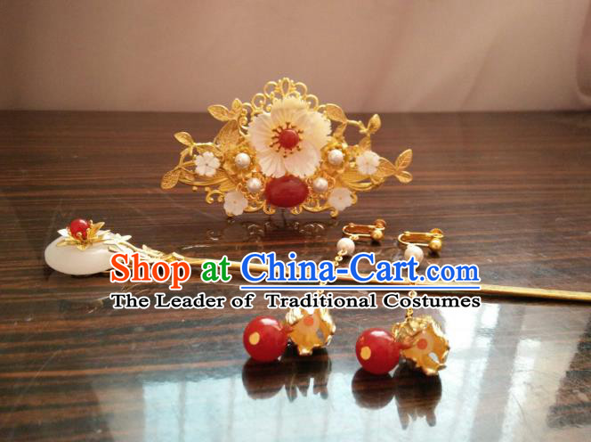 China Ancient Wedding Hair Accessories Chinese Traditional Xiuhe Suit Golden Hairpins Hair Comb for Women
