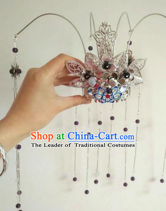 China Ancient Hair Accessories Hanfu Purple Beads Tassel Phoenix Coronet Chinese Traditional Hairpins for Women