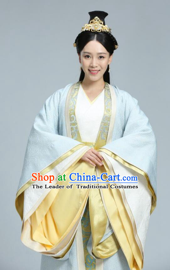 Chinese Ancient Infanta Hanfu Dress Northern Zhou Dynasty Princess Historical Costume and Headpiece Complete Set