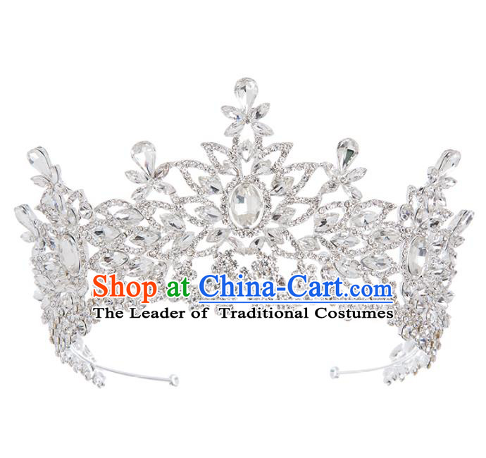 Baroque Bride Hair Accessories Classical Royal Crown Crystal Imperial Crown Headwear for Women