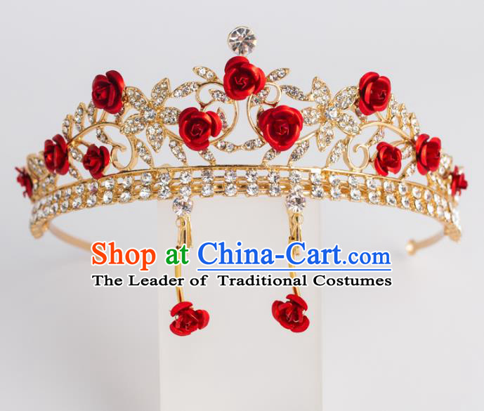 Baroque Bride Hair Accessories Classical Royal Crown Red Rose Imperial Crown Headwear for Women