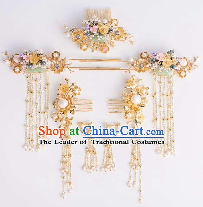 Chinese Traditional Wedding Hair Accessories Ancient Bride Tassel Hairpins Xiuhe Suit Headwear for Women