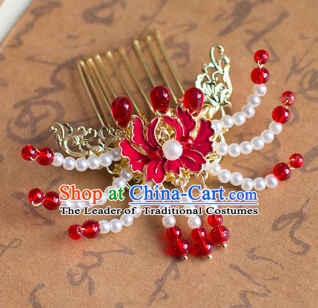 Chinese Traditional Palace Hair Accessories Xiuhe Suit Hair Comb Ancient Hairpins for Women