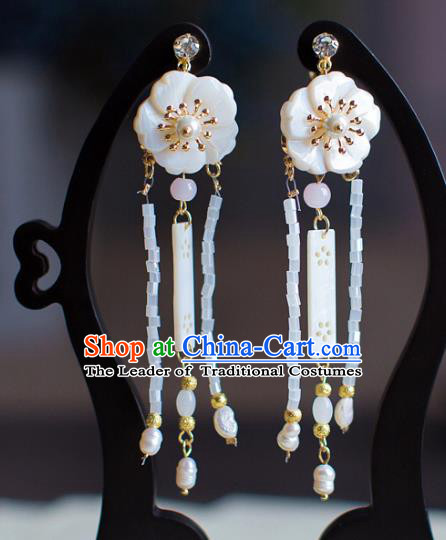 Chinese Ancient Bride Classical Accessories Shell Flower Earrings Wedding Jewelry Hanfu Eardrop for Women