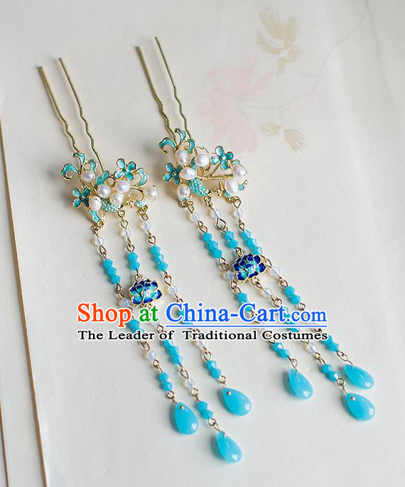Chinese Traditional Palace Hair Accessories Xiuhe Suit Blueing Lotus Tassel Hair Clips Ancient Hairpins for Women