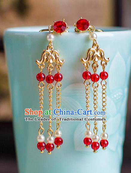 Chinese Ancient Bride Classical Accessories Earrings Wedding Jewelry Hanfu Red Crystal Tassel Eardrop for Women